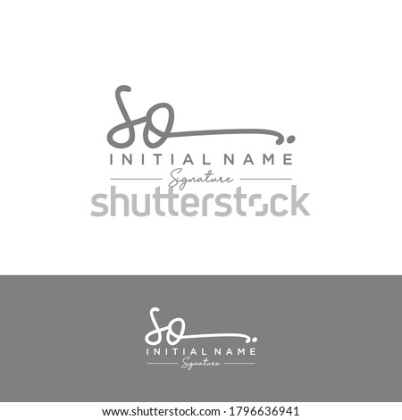 SO Initial letter handwriting and signature logo. Stok fotoğraf ©