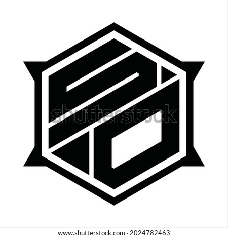 SO Logo monogram with hexagon and sharp shape design template Stok fotoğraf ©