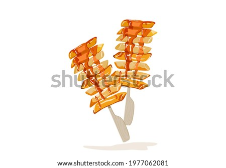 So-tteok so-tteok a popular South Korean street food. Fried garae-tteok or rice cakes with sauce. Isolated stick of So-tteok so-tteok on white background vector illustration. Asian food drawing.  Zdjęcia stock ©