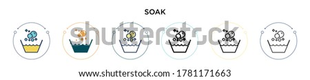 Soak icon in filled, thin line, outline and stroke style. Vector illustration of two colored and black soak vector icons designs can be used for mobile, ui, web Stock photo ©