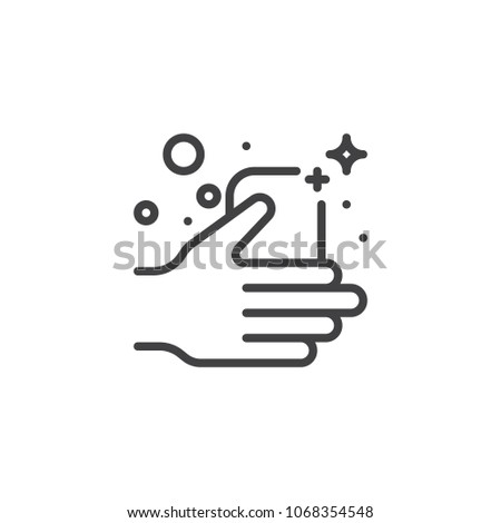 Soap bar in a hand outline icon. linear style sign for mobile concept and web design. Wash hands simple line vector icon. Symbol, logo illustration. Pixel perfect vector graphics