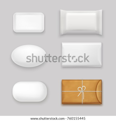Soap bars realistic set with blank packaging isolated vector illustration