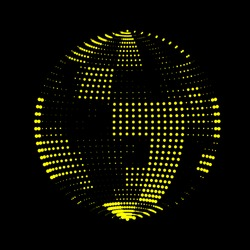 Soap bubble made from glowing panels. Checkerboard checkered irregular palette. Vector texture of tiles. Luminous sphere. Logo or icon for your project. Disco ball broken plane. Volume sea from dots.