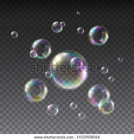 Soap bubble with rainbow colors isolated on white background. Realistic vector water foam bubbles set. Colorful iridescent ball or sphere template.