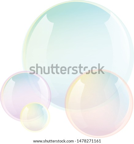 Soap bubbles. Cartoon Soap bubbles. Realistic. Transparent Soap bubbles. Vector Soap bubbles