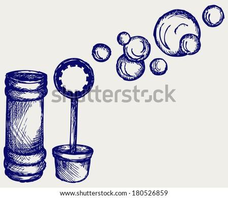 Soap bubbles. Doodle style