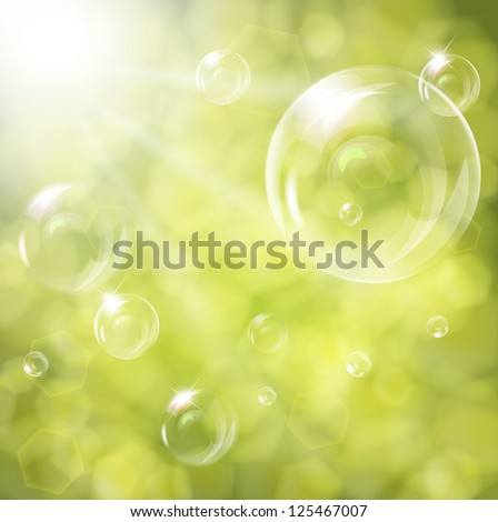 soap bubbles on green natural