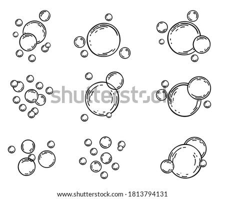 Soap bubbles on white background. Bubbles sketch line icons set. Soap foam, fizzy drink, oxygen bubble pictogram, effervescent effect vector illustrations, outline signs. Fizzing air bubbles stream.  Foto d'archivio ©