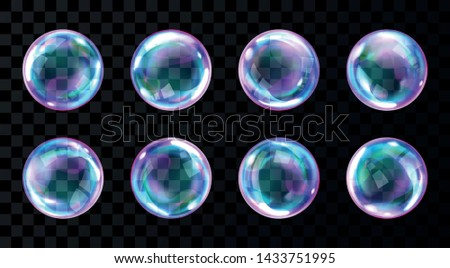 Soap bubbles, realistic transparent air spheres of rainbow colors with reflections and highlights isolated on checkered background, set of vector illustrations