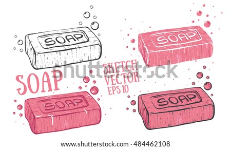 Soap cartoon illustration. Doodle style with bubbles vector.