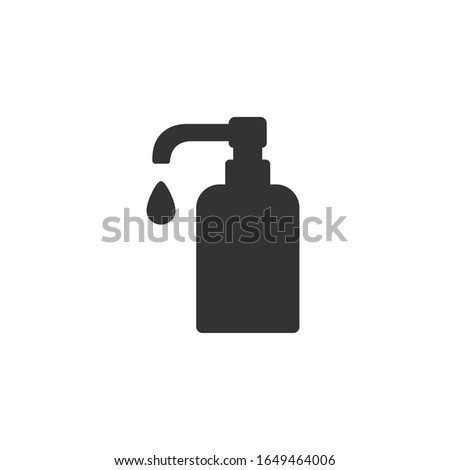 Soap dispenser vector icon, Shampoo gel pomp sign. Shape silhouette Flat design isolated on white background.