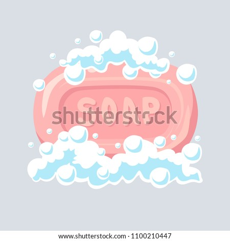 Soap flat icon, soap bubbles, vector illustration.
