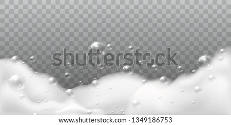 Soap foam. Bath laundry white bubbles, shampoo soap clean bubbling shiny washing hygiene detergent isolated vector background