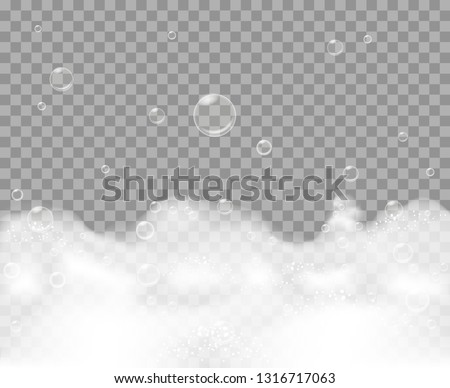 Soap foam. Bathe froth background, bath shampoo vector bubbles suds isolated on transparent background