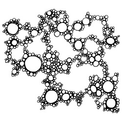 Soap foam isolated vector concept, abstract shampoo bubbles background. Hand drawn doodle foam sketch illustration. Circles, round elements, black outline isolated on white. Line art pattern.
