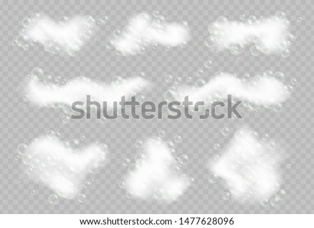 Soap foam with bubbles isolated on transparent background. Sparkling shampoo and bath lather vector illustration.