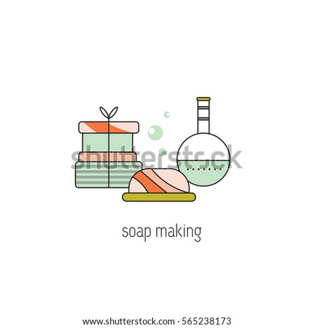 Soap making vector thin line icon. Bars of soap and a flask with a soap solution. Colored isolated symbol. Logo template, element for business card or workshop announcement.