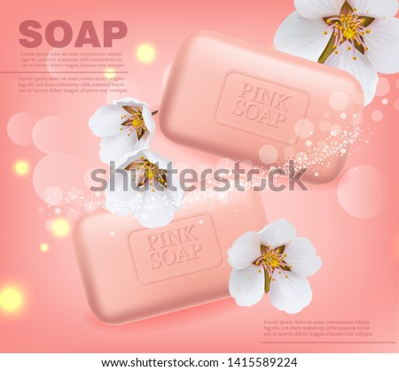 Soap Vector realistic mock up. Product placement label design. cherry blossom scent pink background. 3d illustration