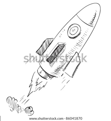 Soaring rocket ship cartoon icon. Sketch fast pencil hand drawing illustration in funny doodle style.