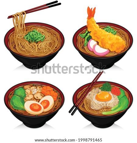 Soba noodles varieties recipes illustration vector. Stock fotó ©