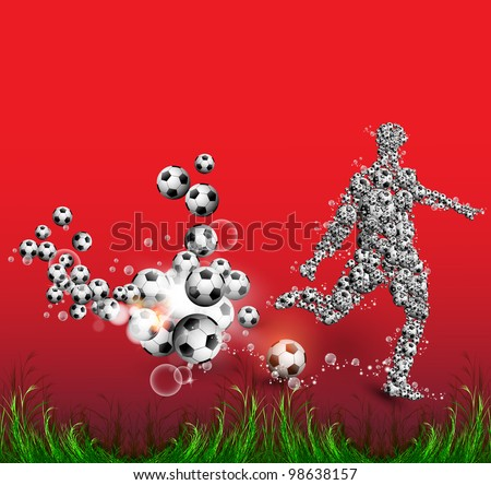 Soccer Action Player on  Background, football poster