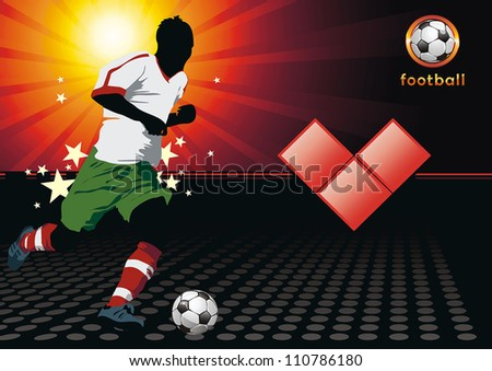 Soccer Action Player on beautiful Abstract Background. Original Vector illustration sports series. I loves football, Classical football poster.