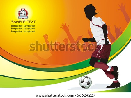 Soccer Action player. Original Vector illustration sports series. Abstract Classical football poster