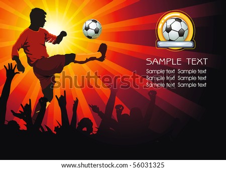 Soccer Action player. Soccer ball with crowd silhouettes of sport fans. Vector Football background with space for text. Abstract Classical football poster.