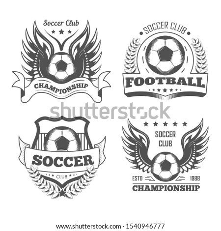 Soccer and football isolated icons, team logo or championship emblems, T-shirt print vector. Sport and tournament, ball and wings. Laurel wreath and shield, sporting equipment and competition
