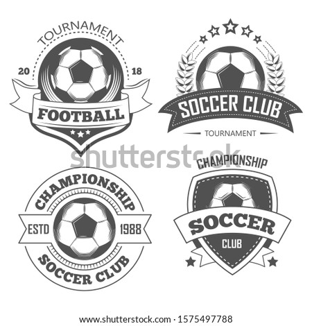 Soccer and football isolated icons, team logo or championship emblems, T-shirt print vector. Sport tournament, playing ball. Laurel wreath and shield, sporting equipment and competition symbols