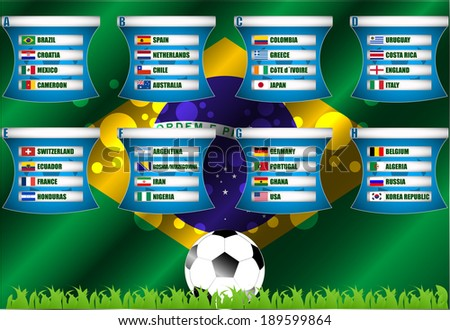 Soccer background Brazil 2014 group stage vector illustration