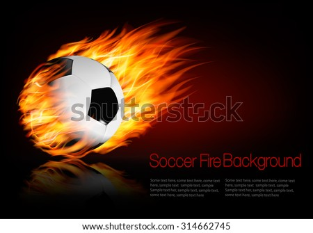 Soccer background with a flaming ball. Vector.