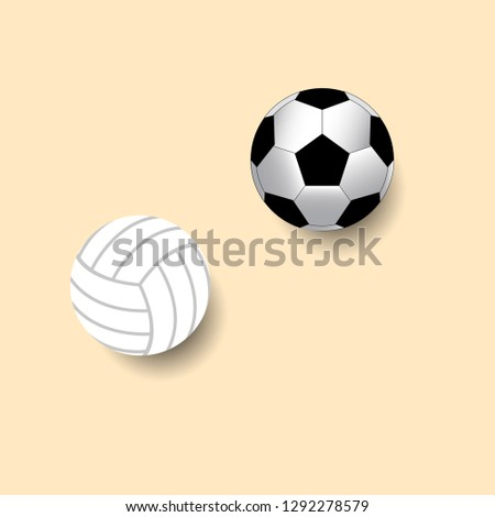 Soccer ball and valleyball isolate on pink background vector illustration