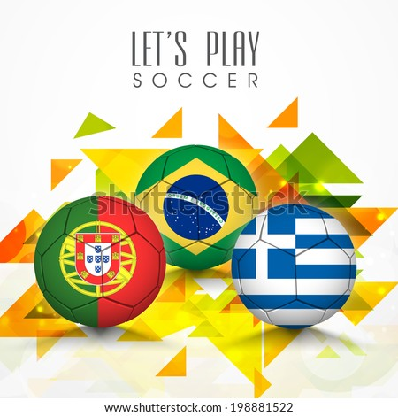 Soccer ball covered in different countries flag on colorful abstract background.