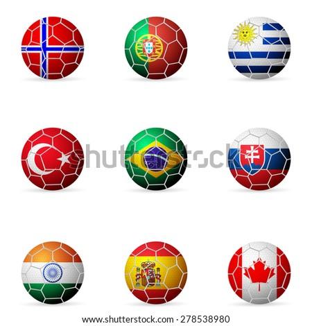 soccer ball flag on a white