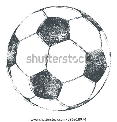 Soccer ball / football illustration in a grungy, letterpress look