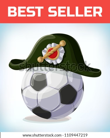 Stock Photo soccer ball. football mascot. french Napoleon Bonaparte tricorn hat. Black tricorn. Masquerade costume headdress. Carnival or Halloween mask. Cartoon Vector illustration.