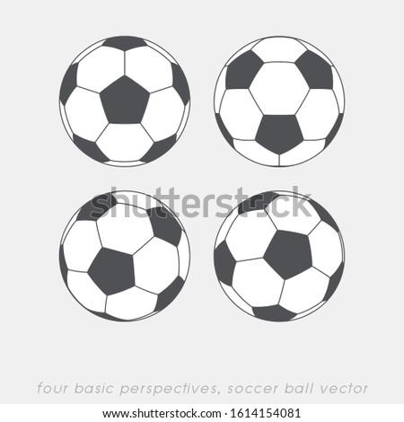 soccer ball. four basic perspectives. vector illustration
