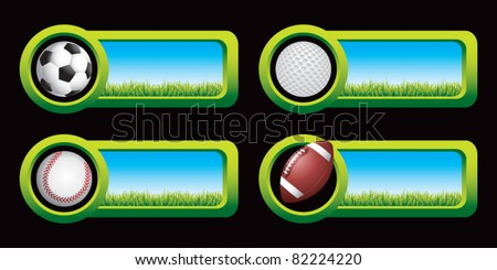 Soccer ball, golf ball, baseball, and football on countryside banners