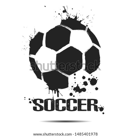 Soccer ball icon. Abstract soccer ball for design logo, emblem, label, banner. Football template on isolated background. Grunge style. Vector illustration