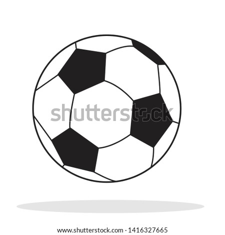 Soccer ball icon. Flat vector illustration in black on white background.