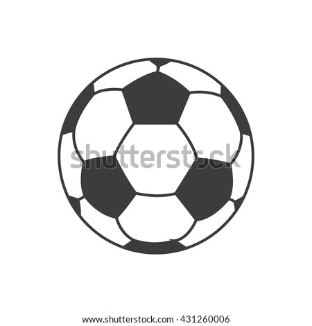 Soccer ball icon. Flat vector illustration in black on white background. EPS 10