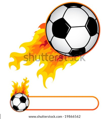 Soccer ball in flame and soccer flame banner.