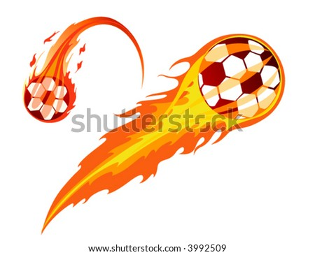 Soccer Ball in Flames - Vector