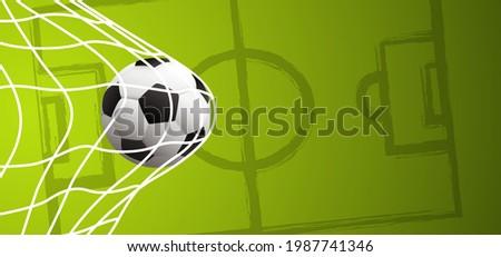 Soccer ball in goal. Goal net. Soccer ball or football net. Vector green background banner.  wk, ek supporters game sport 2020, 2021, 2022 Stok fotoğraf ©