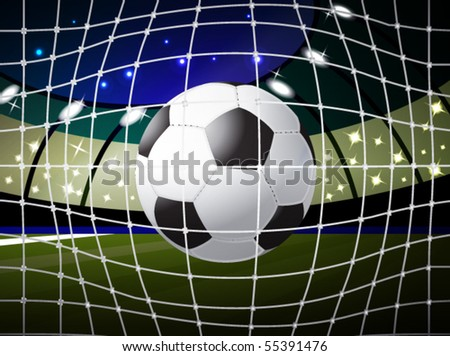 soccer ball into the gate, eps10 format - stock vector