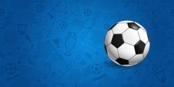 Soccer ball on blue background vector illustration