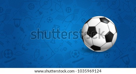 Soccer ball on blue background vector illustration