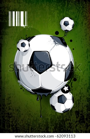 Soccer ball on dirty background. Abstract grunge style. EPS 10 vector illustration.
