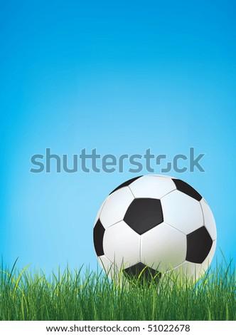 Soccer ball on Field. Vector.